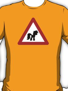 Pony Traffic Sign - Triangular T-Shirt