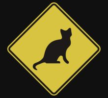 Cat Crossing Traffic Sign - Diamond - Yellow & Black by graphix