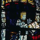 Kneeling king East end stained glass window Malvern Priory Great Malvern England 198405180068  by Fred Mitchell