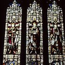 Stained glass Malvern Priory Greater Malvern England 198405180075  by Fred Mitchell