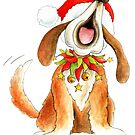 Cute Christmas character dog singing by Sarah Trett