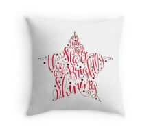 Oh Holy Night Christmas Calligraphy Star Illustration Throw Pillow