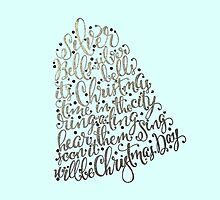 Silver Bells Christmas Typographic Calligraphy Art by Laura Bell