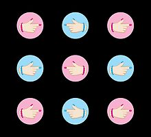 Pointing fingers  stickers by jazzydevil