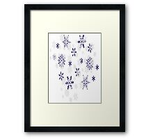 Blue and White Holiday Snowflakes Framed Print