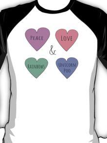 Peace & Love & Rainbows & Unicorn Poo T-Shirt
