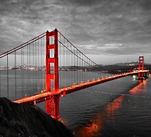 Golden Gate Bridge Hand colored Monochrome by Quattrophoto