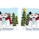 Snowman Family Merry Christmas Coffee Mug  by Linda Allan
