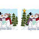 Snowman Family Joyeux Noel Coffee Mug by Linda Allan