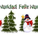 Snowman Winter Scene Feliz Navidad Coffee Mug by Linda Allan