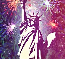 Statue Liberty 4th of July Fireworks 2a by Adam Asar