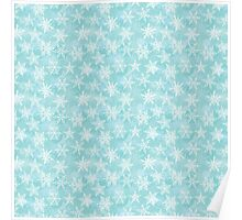 Seamless winter background with white snowflakes Poster