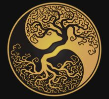 Yellow and Black Tree of Life Yin Yang T-Shirt