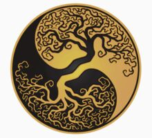 Yellow and Black Tree of Life Yin Yang by Jeff Bartels