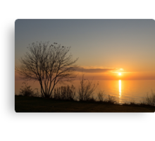Calm, Sunny and Peaceful - a Lake Shore Daybreak Canvas Print