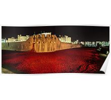 Poppies at theTower of London -  Night Panorama Poster