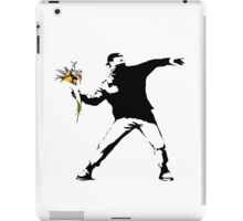 Banksy - Flower thrower (with white outline for dark t-shirts) iPad Case/Skin