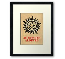 Supernatural - No Demons Allowed [BLACK] Framed Print