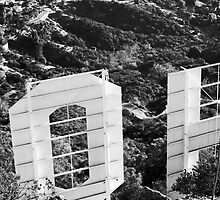 black and white hollywood sign by staystained