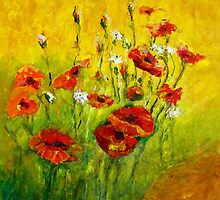 POPPIES AT THE BACK DOOR by Bob Abrahams