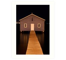 little boatshed on the river Art Print