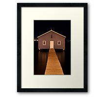 little boatshed on the river Framed Print