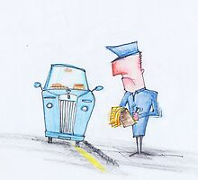 Oh no, the fancy car is getting a ticket! by 15mindrawings
