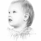 Baby girl profile drawing by Mike Theuer