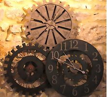 Metal Clocks on Stone Wall by aurielaki