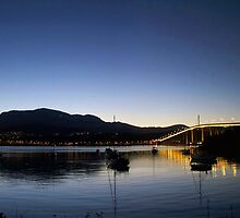 Mt Wellington, Tasman Bridge Sunset by Kelly McGill