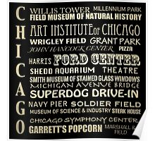 Chicago Illinois Famous Landmarks Poster