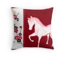 'PEACH BLOSSOM HORSE' Throw Pillow