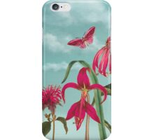 Raspberry Pink Flowers with Turquoise Sky iPhone Case/Skin
