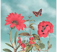 Watermelon Flowers and Turquoise Sky by Eva Nev