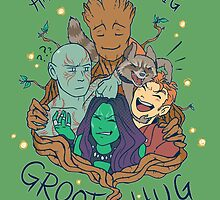 happiness is a big groot hug by Lauren Gacek