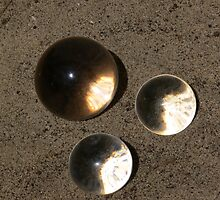 Cystal conjunction on sand by Sandra Chung