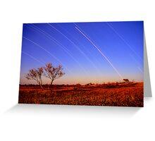 Star Trails,Cameron Corner.QLD Greeting Card