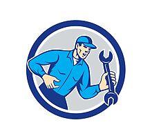 Mechanic Shouting Holding Spanner Wrench Circle Retro by patrimonio