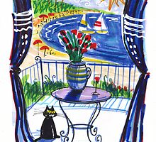 Black cat on balcony with red roses by MrCreator