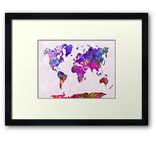 World map in watercolor  Framed Print