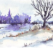 Winter at the pond by Maree  Clarkson