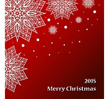 Christmas card with snowflakes on red background Photographic Print