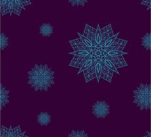 Seamless pattern with snowflakes on violet background by Ann-Julia