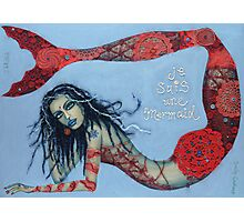 Je Suis Une Mermaid - Red with Pale Blue Photographic Print