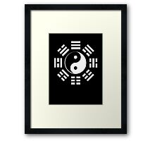Yin Yang, I Ching, Pure & simple, WHITE on BLACK Framed Print