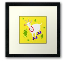Goat on the Yellow Background. Neon Framed Print