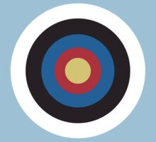 Bulls Eye, Right on Target, Roundel, Archery on Blue by TOM HILL - Designer