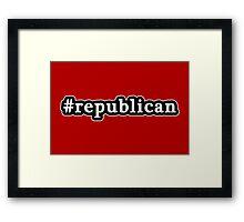 Republican - Hashtag - Black & White Framed Print