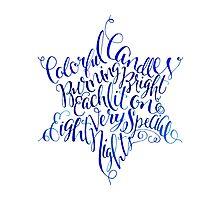 Star of David Hanukkah Chanukah Print Watercolor Typography by Laura Bell