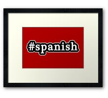 Spanish - Hashtag - Black & White Framed Print